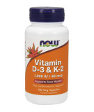 NOW FOODS Vitamin D-3 & K-2 120 caps.